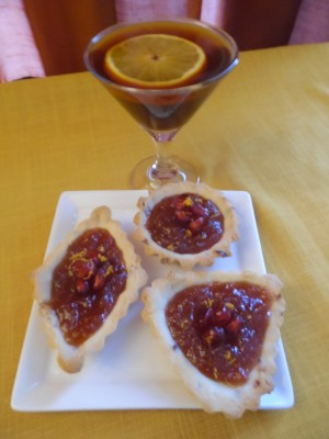 Fruity Fireball mini tarts with Mulled Coffee Martini