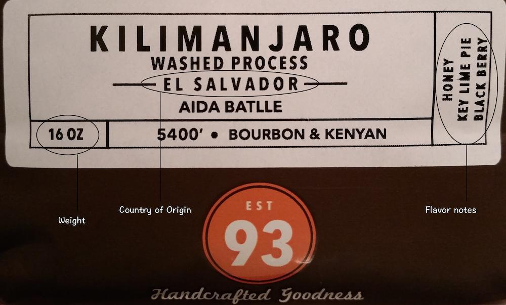 PT's Coffee label example